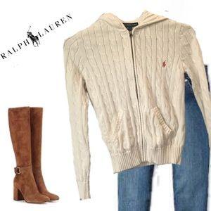 Ralph Lauren Sport Cable Hooded Zip Front Sweater
